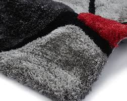 Pebble Rugs Noble House Grey Red Pebbles Hand Tufted Shaggy Rug