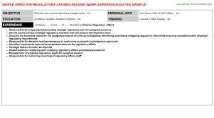 Sample Resume For Kitchen Helper by Director Regulatory Affairs Job Title Docs