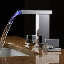 handles led hydroelectric waterfall sink faucet