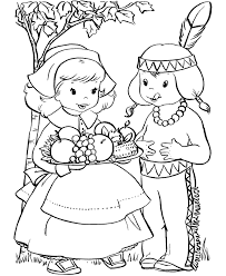 pilgrim and indian thanksgiving coloring pages holidays