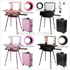 rolling makeup case with lighted mirror 11 types professional aluminum makeup case with light mirror trolley