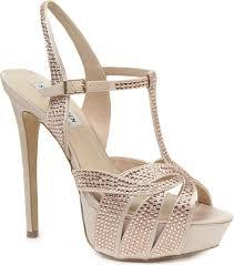 steve madden ally diamanté embellished satin sandals in natural lyst