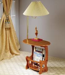 End Table Lamps For Living Room Warm Oak Finish Oval End Table With Brass Lamp And Built In