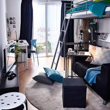 Small Bedroom Desk by Amazing Ikea Girls Dorm Room Design With Cream Carpet And Black