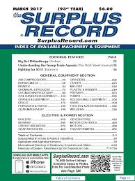 march 2017 surplus record machinery u0026 equipment directory