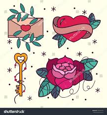 old tattoo flash pattern roses stock vector 364350140