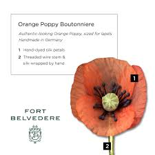 orange poppy boutonniere small by fort belvedere