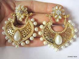 dangler earrings buy gold white pearl chand bali dangler earrings online