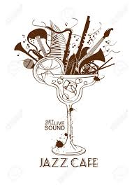 cocktail clipart black and white illustration with musical instruments in a cocktail glass jazz
