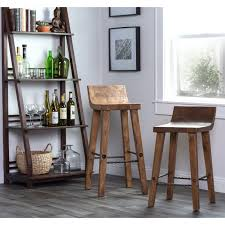 24 Inch Bar Stools With Back Tam Rustic Wood Natural 24 Inch Counter Stool By Kosas Home Tam