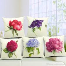 Decorative Seat Cushions Pastoral Rural Elegant Floral Flower Rose Cushion Covers Hand