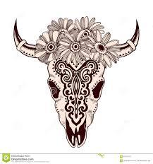 tribal animal skull illustration with ethnic ornaments stock