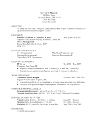 Resume Objective For Undergraduate Student Undergraduate Computer Science Resume Resume For Your Job