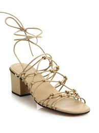 chloé knotted leather lace up block heel sandals in natural lyst