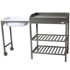 Changing Table Bath Baby Changing Table Dresser Unit Infant Grey Station Storage Bath