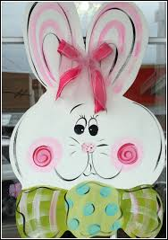 easter bunny decorations large wooden easter bunny door hanger decor painted