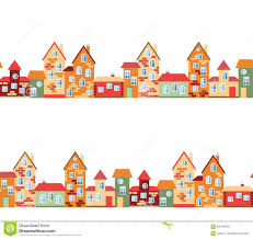 small town panorama with cute houses seamless european village