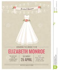 Bridal Shower Invitations Cards Bridal Shower Invitation Card With Wedding Dress Stock
