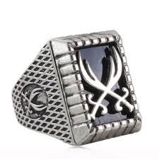 silver ring for men islam antique silver plating muslim zulfiqar sword of imam ali ring for
