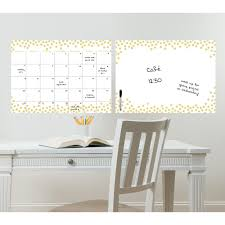 wallpops 24 in x 36 in white monthly calendar memo board wpe0447 gold confetti monthly calendar and message