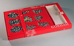gorham metal ornaments set of 9 silk ribbons