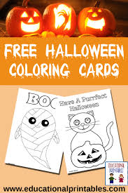 free halloween coloring cards educational printables