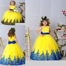 yellow dresses for weddings wholesale 2016 yellow blue gown flower girl dresses for