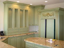 Antique Looking Kitchen Cabinets Light Green Antique Kitchen Cabinets In Combination With Natural