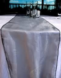 organza table runner silver