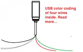 color code of a usb and usb pins wire colors orange white blue