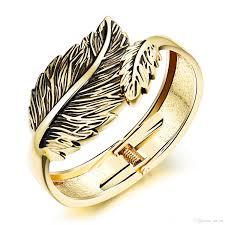 white gold leaf bracelet images Leaves vintage open bangles leaf design personality copper white jpg