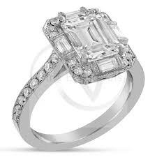 moissanite vintage engagement rings emerald cut moissanite antique style engagement ring with