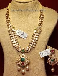 pachi work earrings beautiful pachi haram with flat diamonds jewellery designs