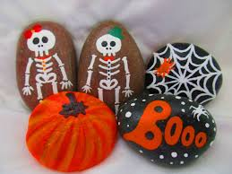 halloween ghost pumpkin halloween painted rocks black cats skeletons and bats
