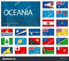 Flags Of The Wrld Waving Flags Oceanian Countries Design Waves Stock Vektorgrafik