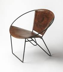 Industrial Modern Furniture by Round Industrial Modern Iron And Leather Accent Chair Woodwaves