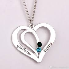 couples necklace wholesale engraved couples necklace 2016 personality birthstone