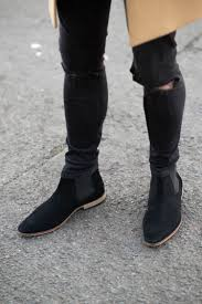 kurt geiger black suede chelsea boots ripped black skinny jeans