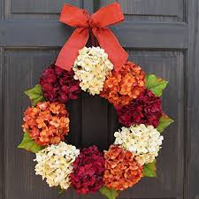 artificial summer and fall hydrangea wreath for front