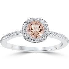 cushion halo engagement rings 7 8ct morganite cushion halo engagement ring 14k