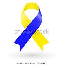 blue and yellow ribbon blue yellow ribbon world stock vector 797403997