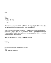 6 grant rejection letters free sample example format download