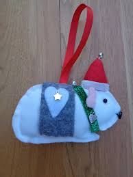 made white felt guinea pig hanging decoration by
