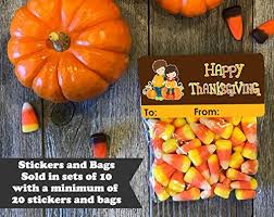 happy thanksgiving treat bags and stickers set of 20