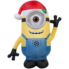 Home Depot Inflatable Christmas Decorations Gemmy 42 In H Inflatable Minion Stuart With Santa Hat 38291 The