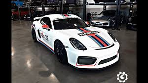 porsche racing colors porsche cayman gt4 looks like a proper race car in martini livery