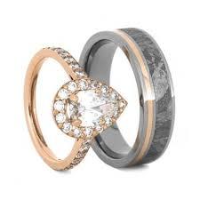 gold wedding ring sets gold wedding ring set moissanite engagement ring meteorite