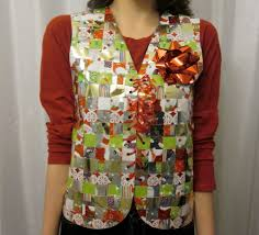 recycled christmas wrapping paper recycled wrapping paper sweater vest allfreeholidaycrafts
