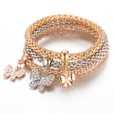 rose gold fashion bracelet images Tomtosh fashion 3pcs neutral crystal cute butterfly pendant jpg