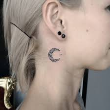 tattoos for men neck polygonal style moon tattoo on the right side of little